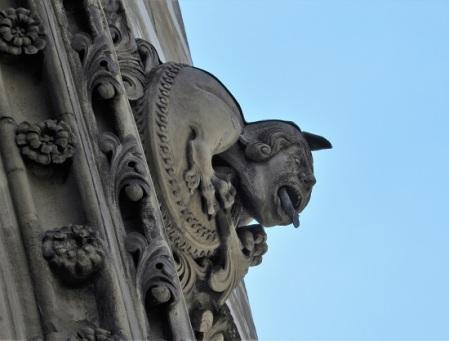 A gargoyle on the exterior