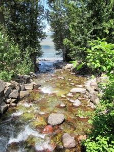 A small creek flowing into Lake McDonald