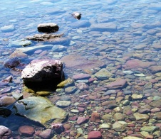 The rocks in Lake McDonald