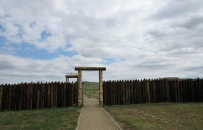 The outer wall of Fort Phil Kearny - reconstructed
