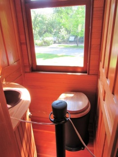 A historic train car bathroom