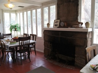 The fireplace at the Faraway Ranch