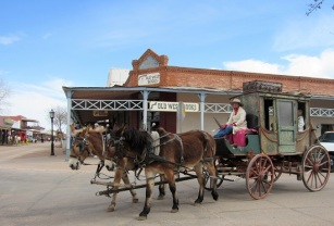 Mule drawn stagecoach