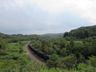 The railroad still carries coal through the valley