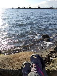 Enjoying a moment at Cornwall Beach