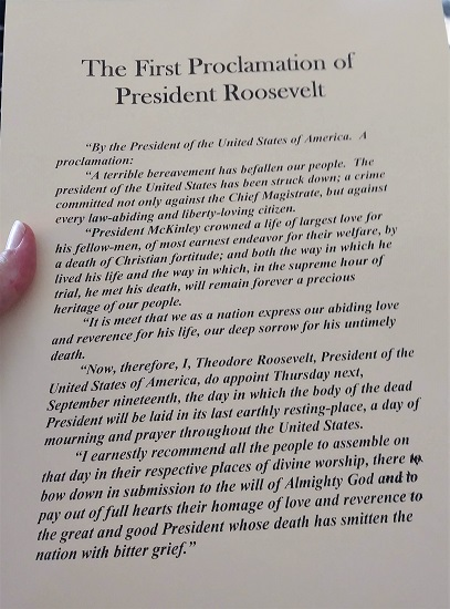 The text of TR's first Presidential Proclamation